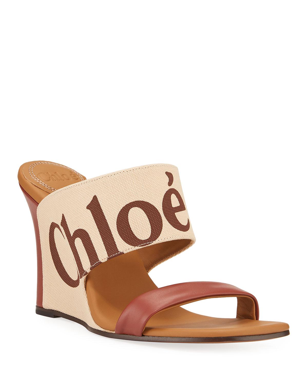 Verena Logo Wedge Slide Sandals