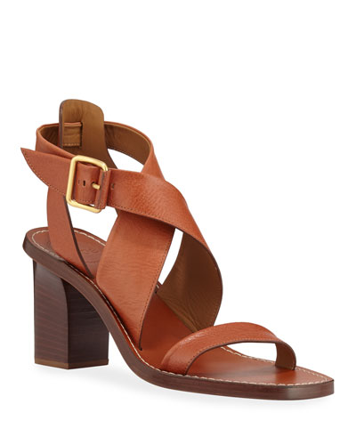 37aefed9a2e9 Quick Look. Chloe · Virginia Strappy Leather Block-Heel Sandals. Available  in Chestnut Brown