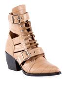 Chloe Rylee Croco Cutout Block-Heel Lace-Up Combat Boots
