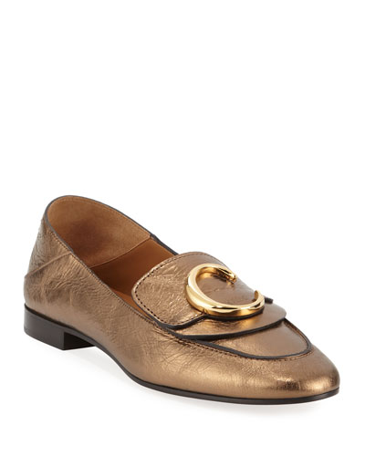 C Metallic Flat Fold-Down Loafers
