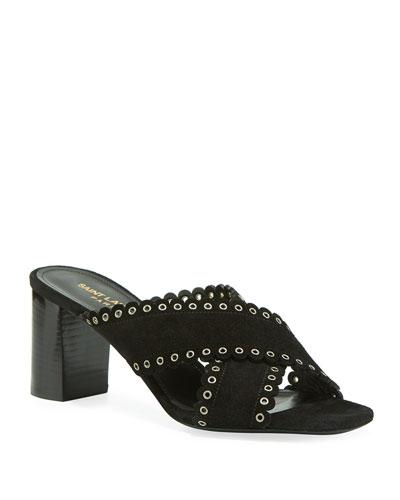 Loulou Suede Eyelet-Trim Slide Sandals