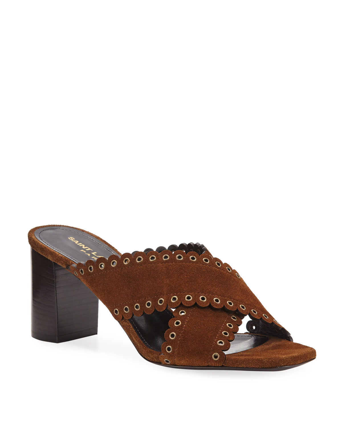 Loulou Suede Slide Sandals with Eyelets