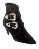 Saint Laurent Charlotte Suede Buckle Booties