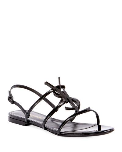 Cassandra YSL Logo Flat Patent Sandals