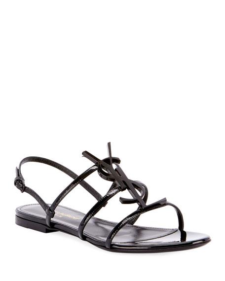 Saint Laurent Cassandre YSL Logo Flat Patent Sandals