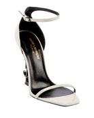 Saint Laurent Opyum YSL Logo-Heel Sandals with Black
