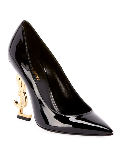 OpYum Patent 110mm YSL-Heel Pumps - Golden Hardware