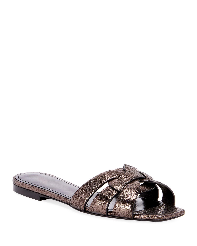 Tribute Flat Crackled Metallic Slide Sandals
