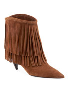 Saint Laurent Charlotte Fringed Suede Booties