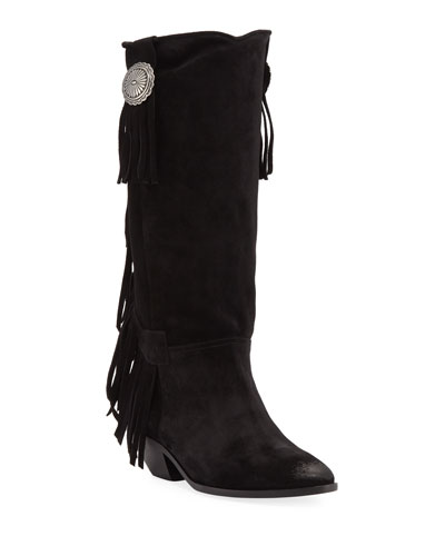 West Fringed Calf Leather Boots