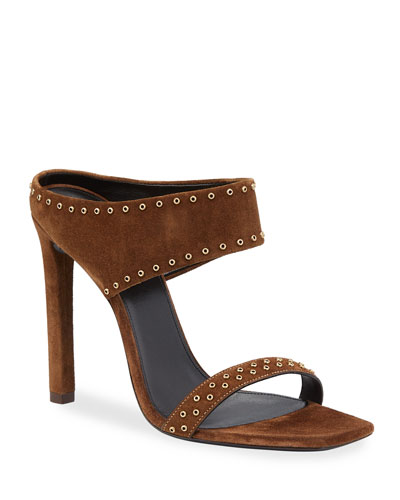 Mica Studded Suede High-Heel Sandals