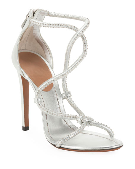 ALAIA Twisted Studded Metallic Leather Sandals