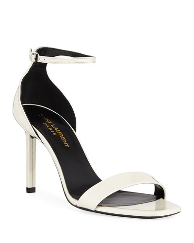 Amber Patent Ankle-Wrap Sandals