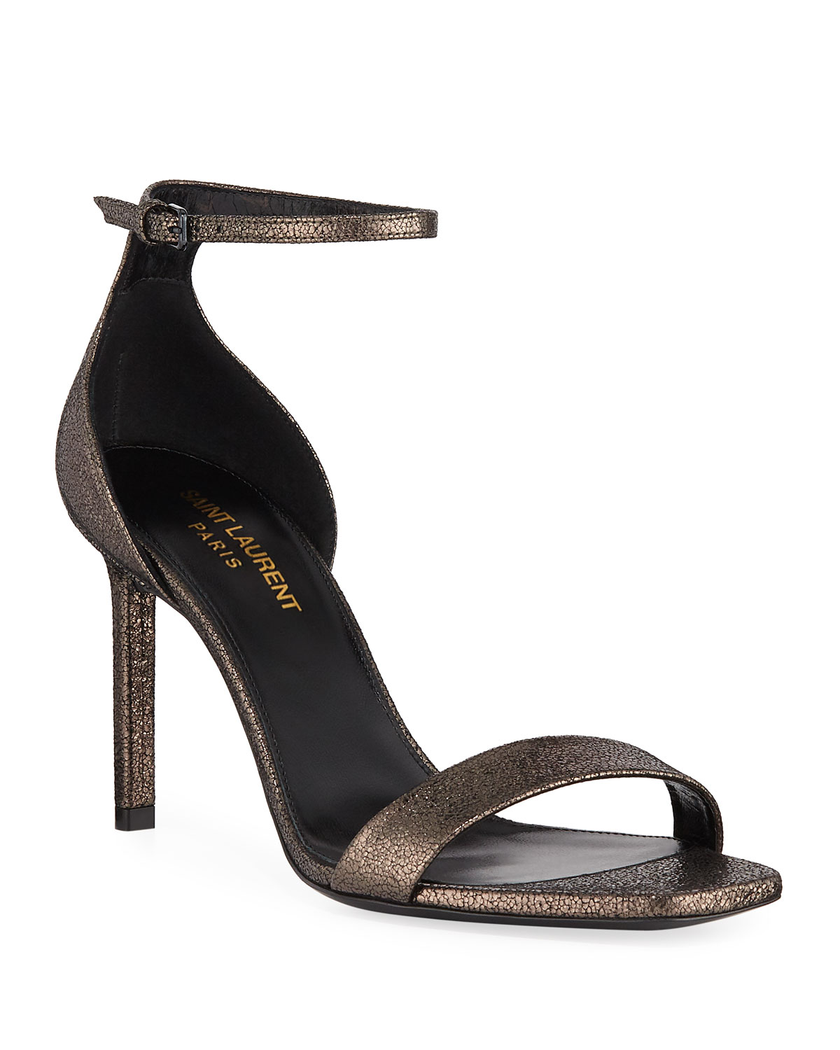 Amber Metallic Ankle-Wrap Sandals
