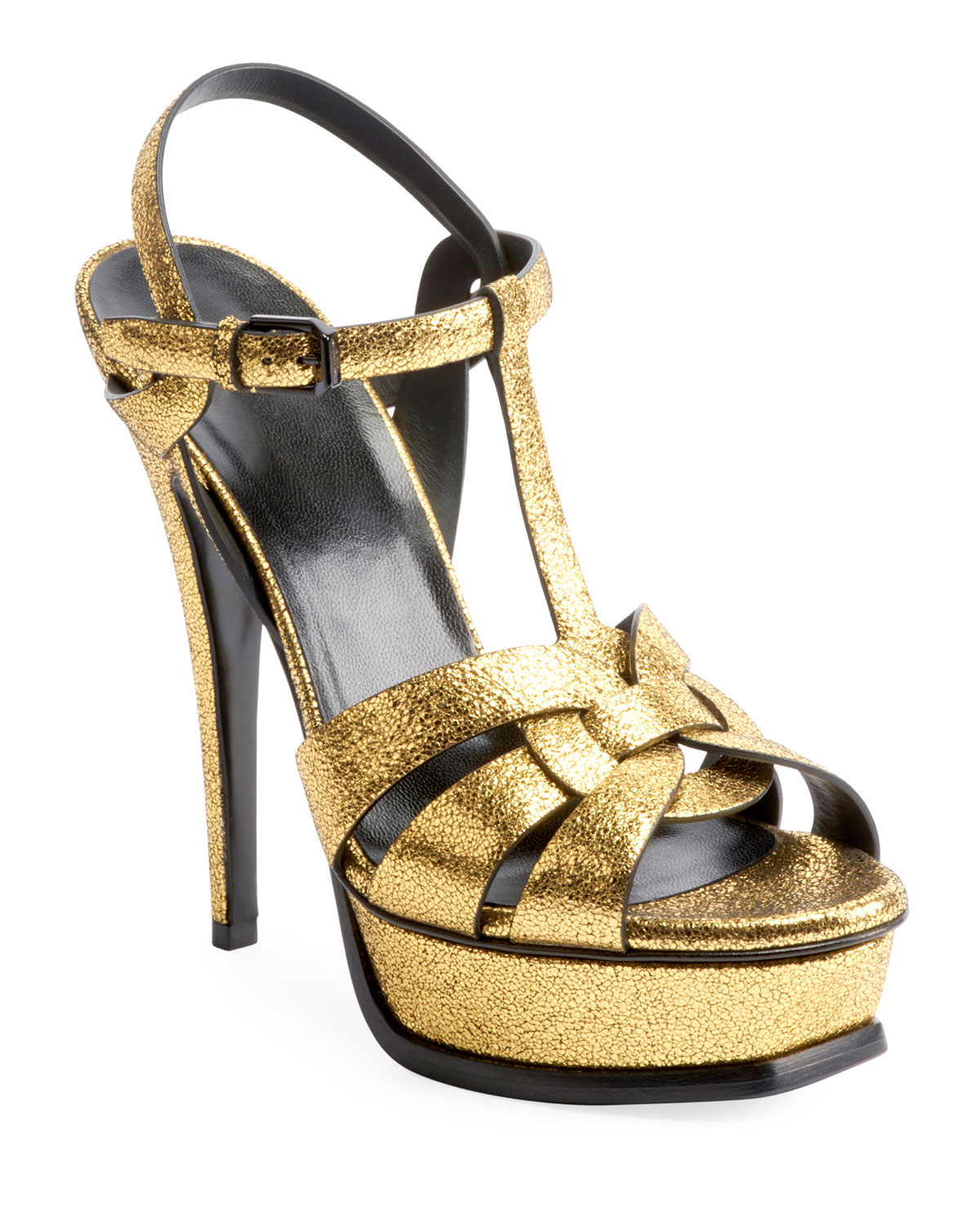 Tribute Leather Platform Sandals - Gold Size 11