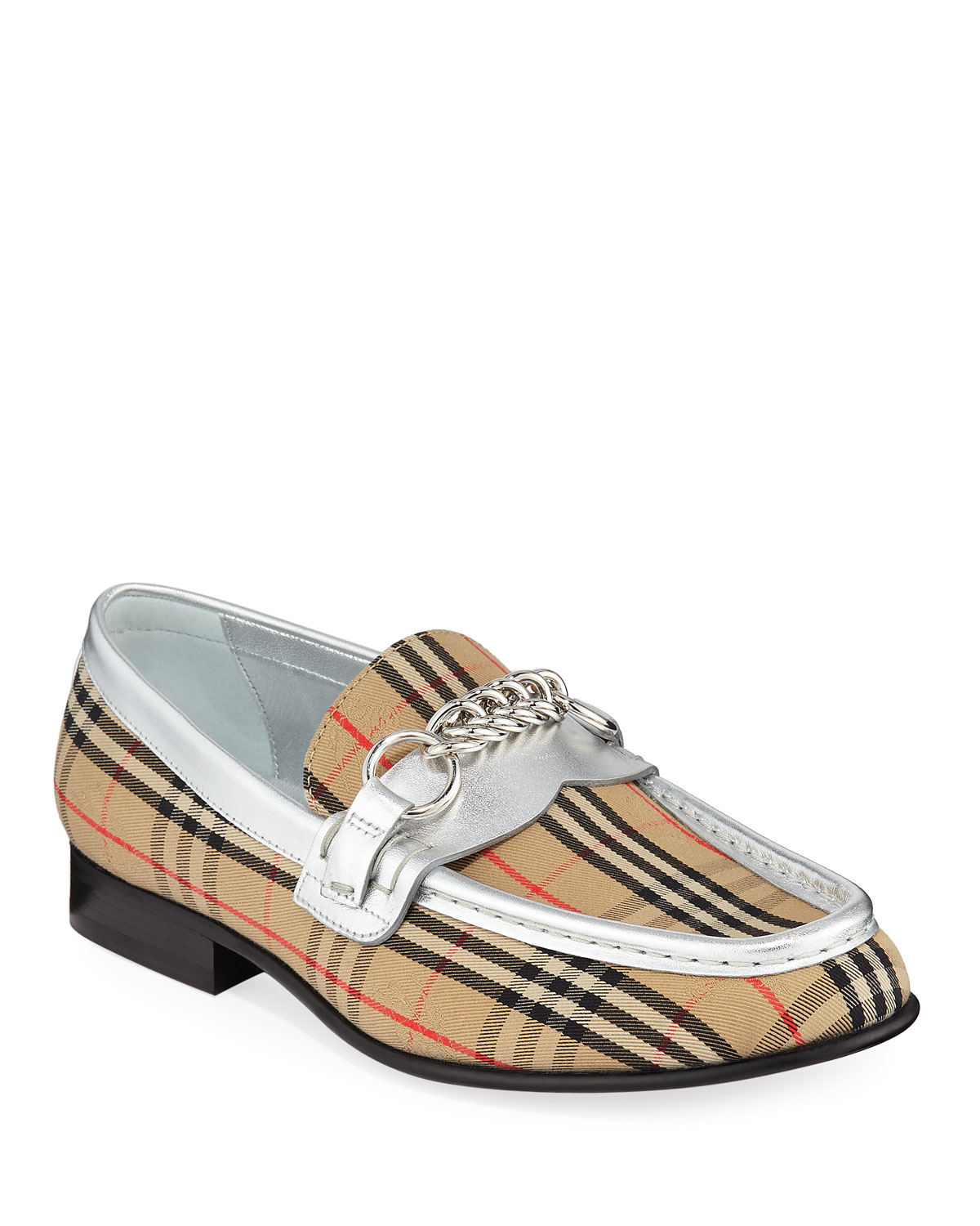 Moorley Chain Check Loafers With Metallic Piping in Silver Grey