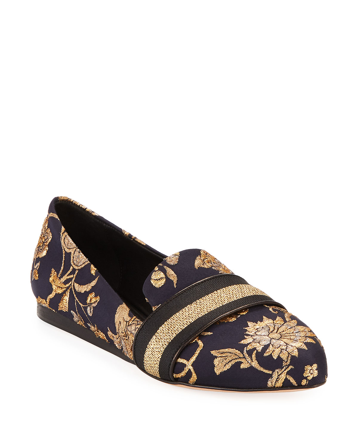 Griffin Flat Metallic Brocade Loafers in Black/Gold