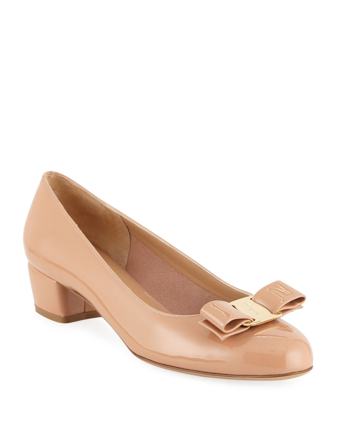 Shiny Vara Low-Heel Pumps