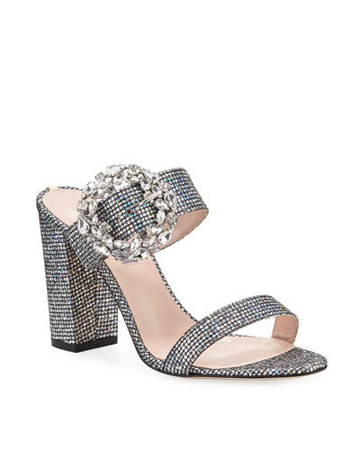 Celia Embellished Sparkle Slide Sandals