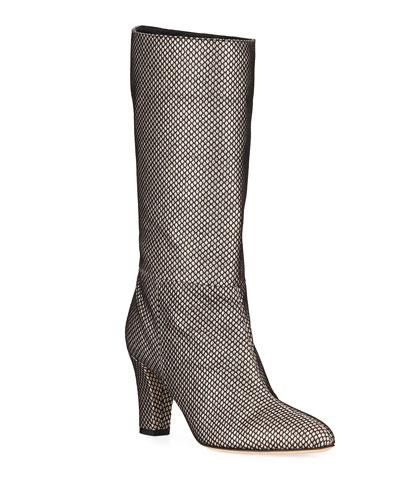 Reign Glitter Mesh Block-Heel Boots