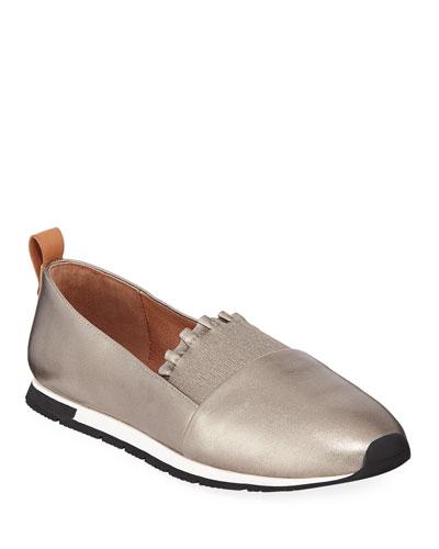Luca Ruffled Metallic Slip-On Sneakers