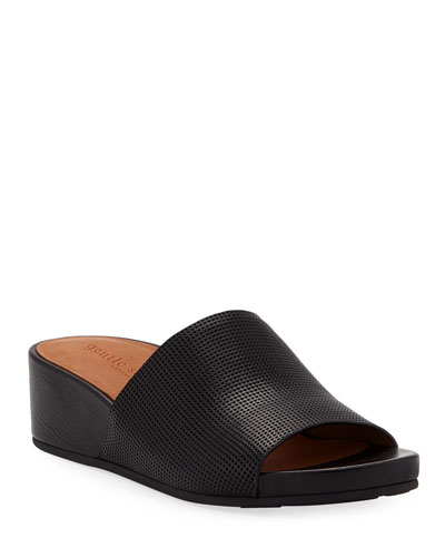 Gisele Perforated Leather Demi-Wedge Slide Sandals