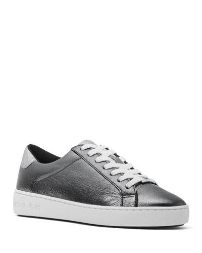Irving Metallic Leather Low-Top Sneakers