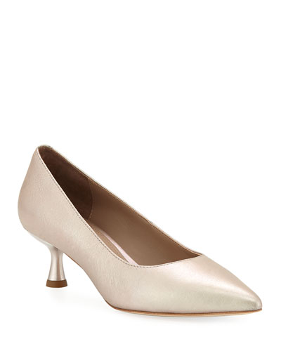 Bon Pointed-Toe Low Metallic Leather Pumps