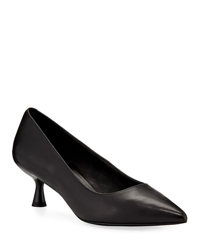 Bon Pointed-Toe Low Leather Pumps