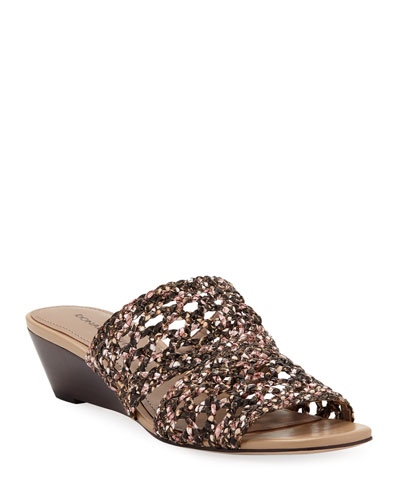 Albi Snake-Print Woven-Leather Demi-Wedge Slide Sandals