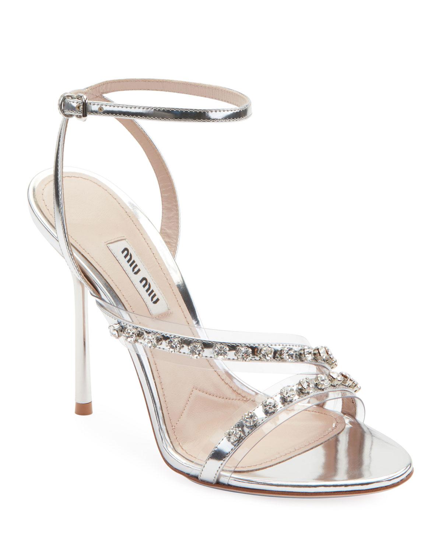Metallic Jeweled High-Heel Sandals
