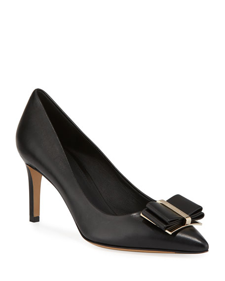 Salvatore Ferragamo Zeri Mid-Heel Leather Bow Pumps