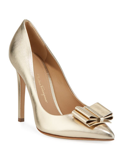 Zeri High-Heel Metallic Leather Bow Pumps