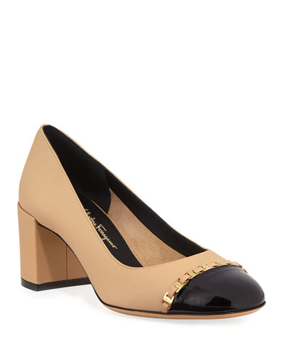 Avella Cap-Toe Pumps with Mini Buckles