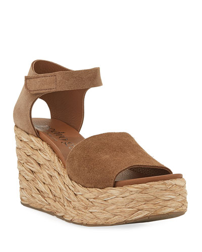 Dory Suede Low-Wedge Espadrille Sandals
