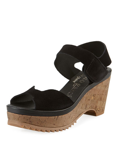Fah Suede  Cork-Wedge Sandals