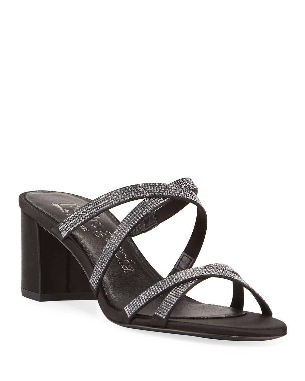 Xonia Crystal Crisscross Slide Sandals