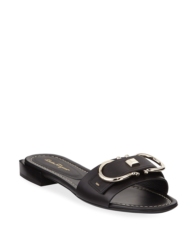 Solar Logo Gancini Slide Sandals