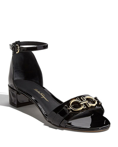 Como Gancini Patent City Sandals, Black