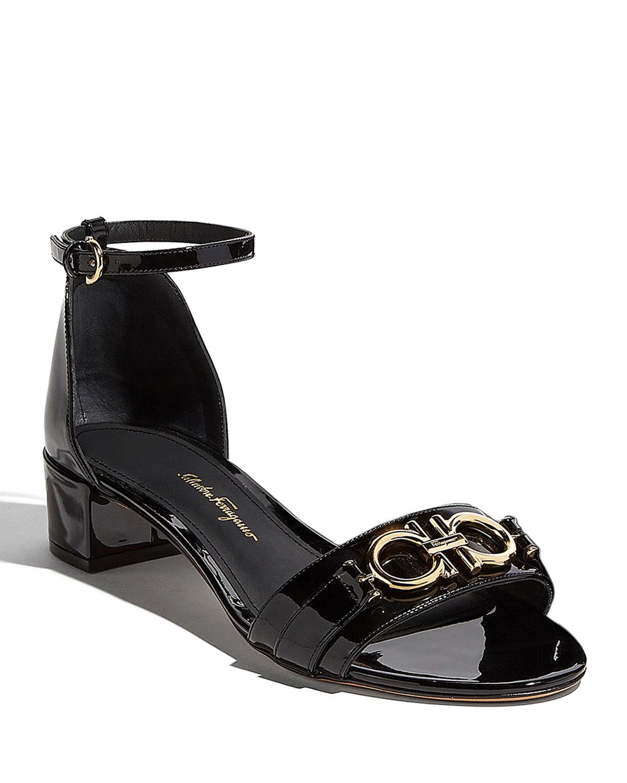 Como Gancini Patent City Sandals, Black