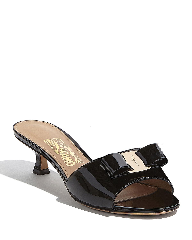 Ginostra Patent Bow Slide Sandals, Black