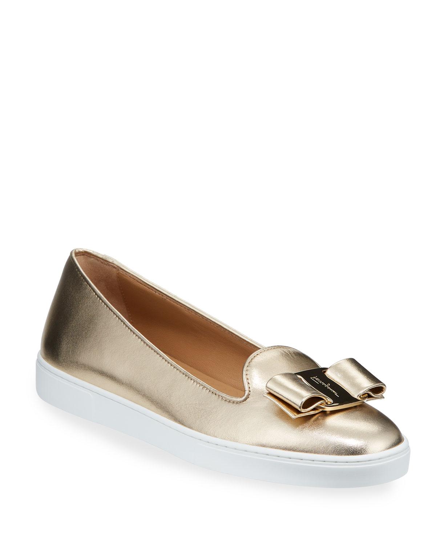 Novello Metallic Leather Bow Sneakers