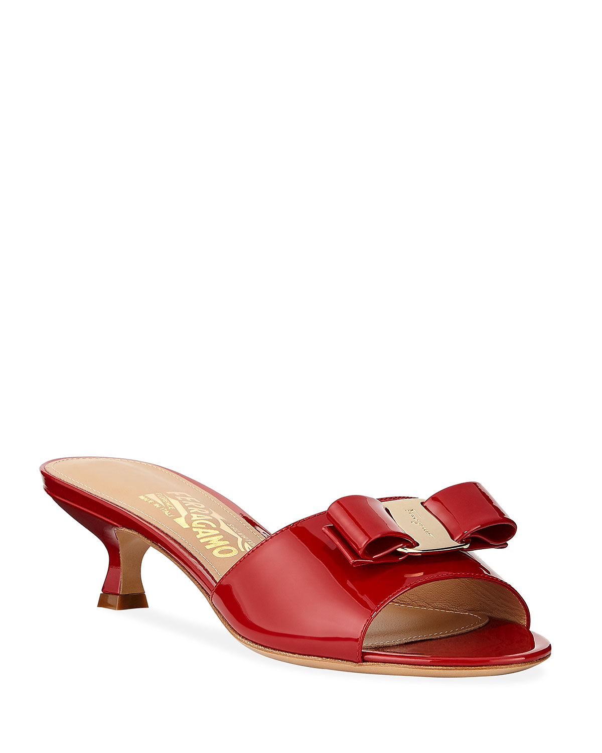 Ginostra Patent Bow Slide Sandals, Rosso