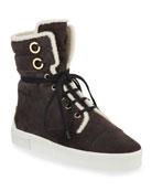 Stuart Weitzman Morrissey Lace-Up Suede Sneakers
