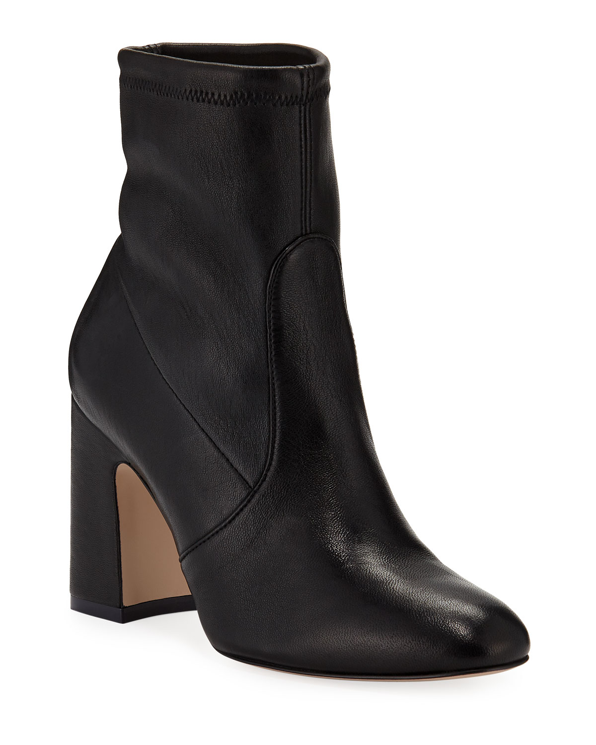 Niki Stretch-Leather Booties, Black