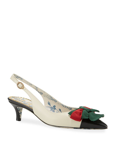Jane Slingback Pumps with Web Bow