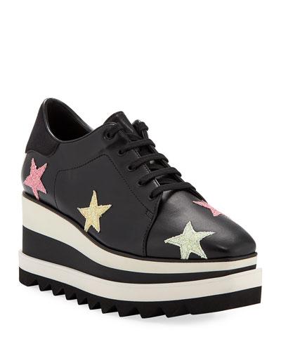 Elyse Stars Glitter Platform Sneakers