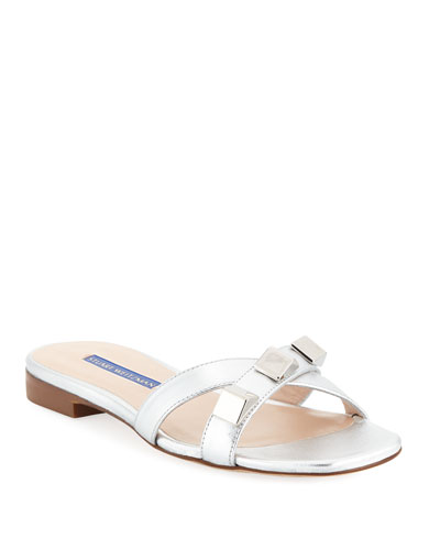 Flat Metallic Studded Sandals, Silver