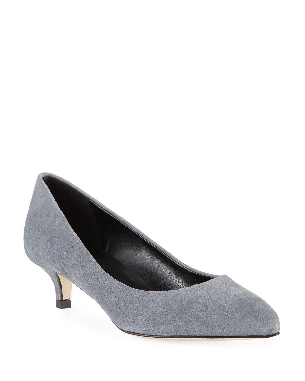 Beals Cushioned Suede Kitten-Heel Pumps in Gray