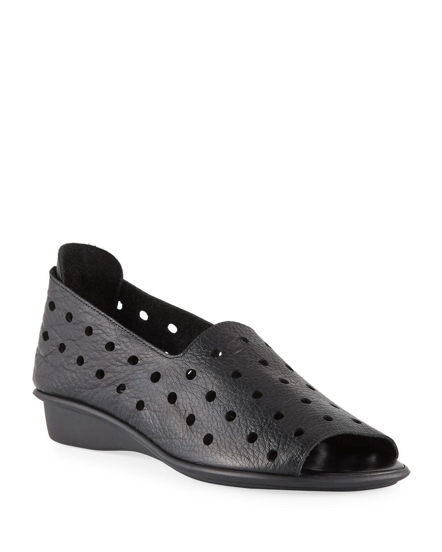 Edwina Perforated Leather Slip-On Flats